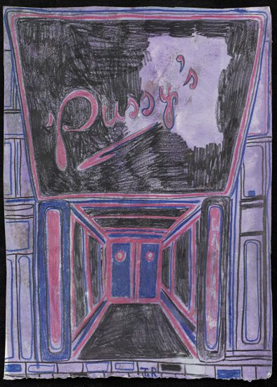Tal R, Pussy, 2014, crayon on painted paper (all images courtesy the artist and Cheim & Read, New York)